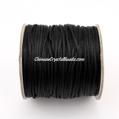 1.5mm Satin Rattail Cord thread, #02, black, 80Yard spool