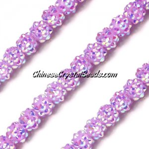Chinese Crystal Disco Bead Acrylic purple AB 8mm(inside), 30 beads