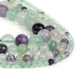 Natural Fluorite Bead Strand, Smooth Round Wholesale 4mm 6mm 8mm 10mm 12mm Full 15.5 inch Strand