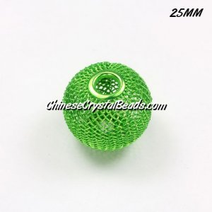 25mm green Mesh Bead, Basketball Wives, 10 pieces