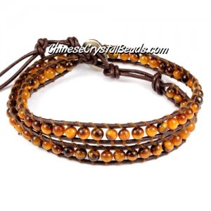 Beaded Wrap Bracelet, 4mm yellow tiger eye beads, 12.5inch