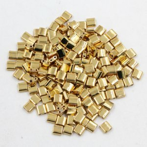 Chinese 5mm Tila Square Bead, 18k gold plated, about 100Pcs