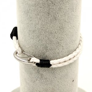 Stainless steel Men's Braided Leather Bracelets Clasp, white color