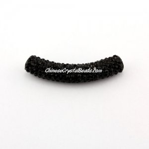 Pave Crystal Pave Tube Beads, 45mm, 4mm hole, black, sold 1pcs