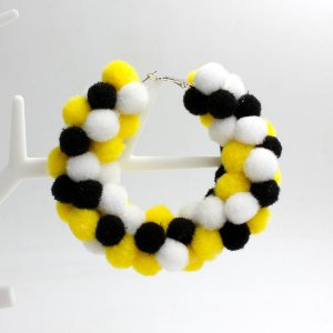 Pom poms Hoop Earring, 2.6 inch, #1, sold by 1 pair