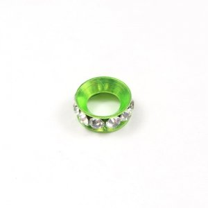 12mm copper baking finish Rondelle spacer,7mm hole, lime green, 1 piece