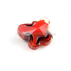 Millefiori Crystal Butterfly Beads, red, 12x14mm , 10 beads