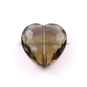 Chinese Crystal Multi-Faceted Heart Pendant, Smoke, 22mm, 6 pcs