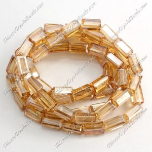 cuboid crystal beads, 4x4x8mm, golden shadow, 72pcs per strand