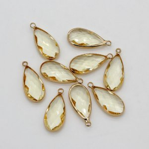 5Pcs 10x23mm lt yellow drop Glass crystal Connecter Bezel pendant, Drops Gold Plated one Loops