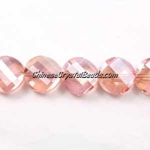 Chinese Crystal Twist Bead, 18mm, rose peach AB, 10 beads