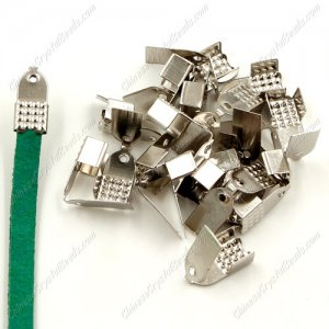 100pcs, 5mm wide, Ribbon crimp,Cord Coupler, End Crimp Clamp for Ribbon,Crimp Ends with Loops, Clips,Clamps, Ribbon Ends
