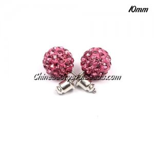 Pave clay disco Earrings, pink, 10mm, sold 1 pair