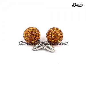 Pave clay disco Earrings, amber, 10mm, sold 1 pair