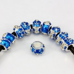 Alloy European Beads, cross, 8x13mm, hole:6mm, pave clear crystal, blue painting, silver plated, 1 piece