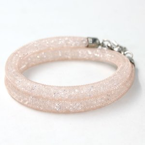 6mm wide real crystal stardust mesh bracelet or necklace, peach color