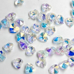 10 Pcs AAA quality Crystal 10mm Heart Bead/Pendant, Clear AB, hole:1.5mm