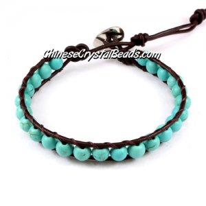 Beaded Wrap Bracelet, 6mm turquoise beads