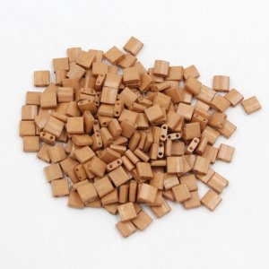 Chinese 5mm Tila Square Bead, opaque Frosted opaque tan, about 100Pcs