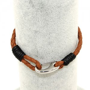 Stainless steel Men's Braided Leather Bracelets Clasp, brown color