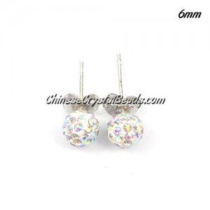 Pave Drop Earrings, 6mm, white AB, sold 1 pair