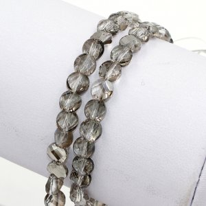 70Pcs 6mm twist crystal beads, silver shade
