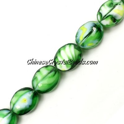 Millefiori faceted oval glass beads, green, 16x20mm, 1 beads