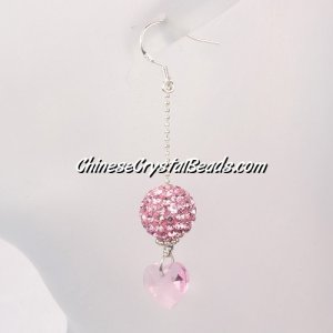 crystal earring, Pave earring, pink clay disco beads, sold 1pair