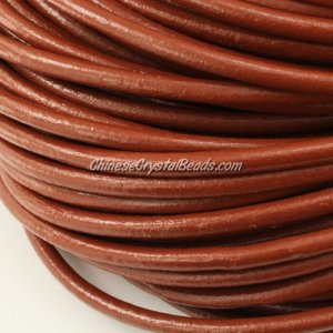 3mm round leather cord, brown color, (Sold by the meter)
