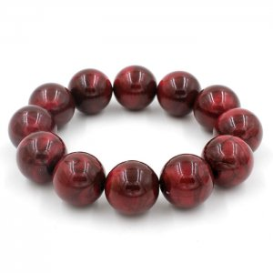 Imitation ABS Cat Eye's Beads Bracelet, red, inside diameter:16.5cm
