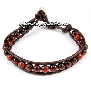 Beaded Wrap Bracelet, 6mm red tiger eye beads, 6.5inch