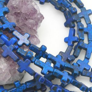 12x16mm Lapis Blue Howlite Turquoise Loose Spacer Beads Cross 15.5 inch strand