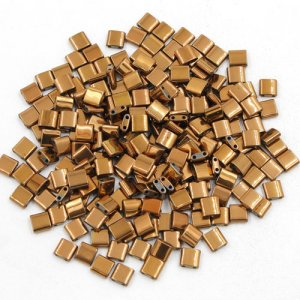 Chinese 5mm Tila Square Bead, copper, about 100Pcs