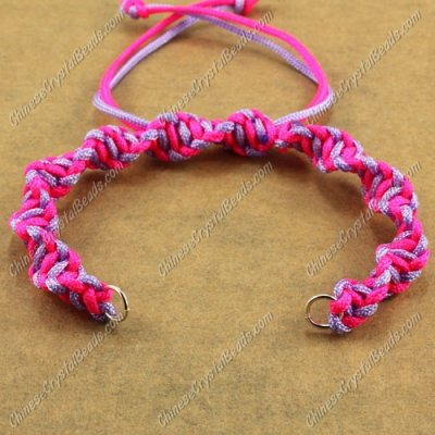 Pave Twist chain, nylon cord, neon fuchsia and lt violet, wide : 7mm, length:14cm