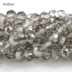 9x12mm Chinese Crystal Rondelle beads silver shade, about 36 beads