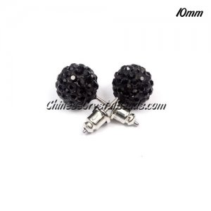 Pave clay disco Earrings, black, 10mm, sold 1 pair