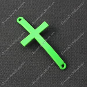 Alloy cross pendant, 21x46mm, hole about 2mm, neon color green, sold 1pcs