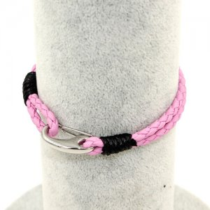 Stainless steel Men's Braided Leather Bracelets Clasp, pink