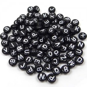 100Pcs Mixed Acrylic Flat Round Disc Alphabet Letter Spacer Beads 7x4mm, black and white letter