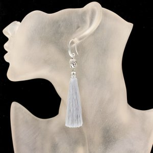 Long China Tassel earrings Buddha bead gray tassel, legth 10CM, 1 pair
