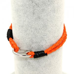 Stainless steel Men's Braided Leather Bracelets Clasp, orange color