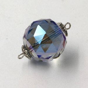 20mm big crystal ball pendant connector charms, blue light, 1 pc