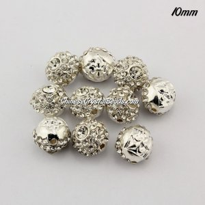 Alloy rondelle Pave disco beads, 10mm, 1.5mm hole, silver, sold 10pcs