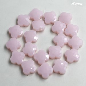 flower faceted crystal beads, 16mm, opaque pink, 1 Pc