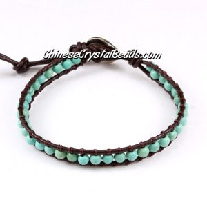 Beaded Wrap Bracelet, 4mm turquoise beads