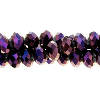 Chinese Crystal Rondelle Strand, purple light, 6x8mm, about 72 beads