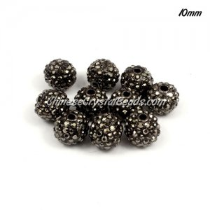 Pave beads, alloy, 10mm, black silver , sold per 10pcs bag