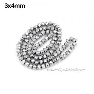 140Pcs 3x4mm Chinese platinum silver Crystal Rondelle beads