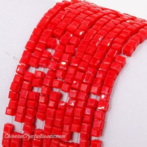 2x2mm cube crytsal beads, opaque red velet 3, 195pcs