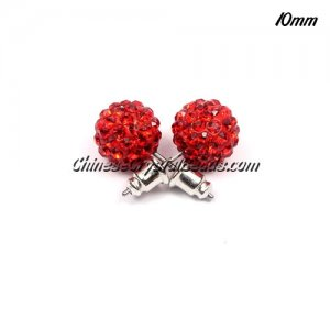 Pave clay disco Earrings, red, 10mm, sold 1 pair